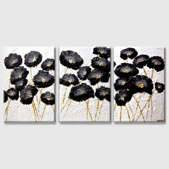 black gold flowers abstract painting