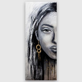 modern woman portrait painting gray red lips