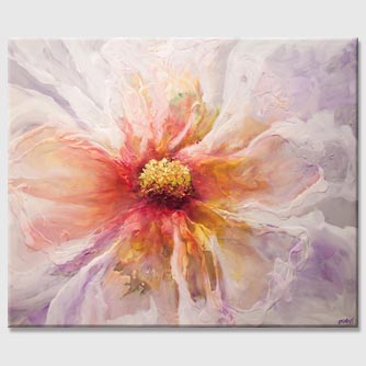 modern white flower abstract painting on purple background