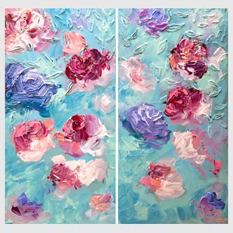 colorful rose flowers abstract painting on light blue background