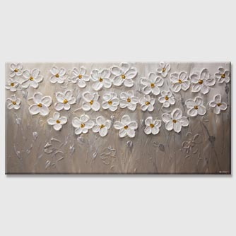Textured White flowers abstract painting with yellow center
