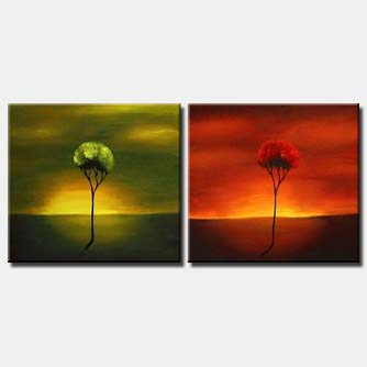 diptych trees canvas