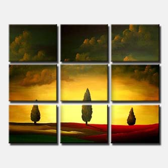 multi panel art cypress trees