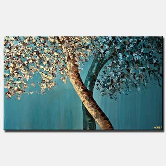 blooming trees blossom blue brown