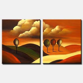 trees on hills landscape painting