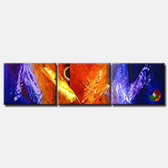 triptych canvas red purple