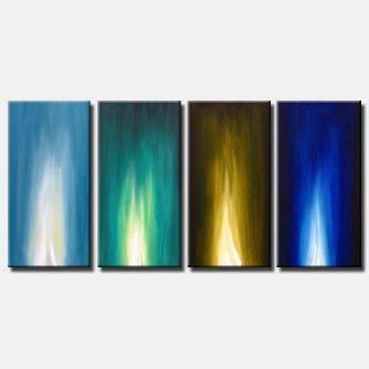 flames in blue multi panel abstract