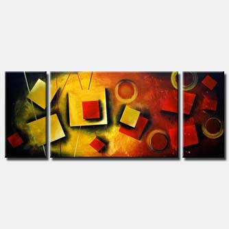 triptych squares abstract art