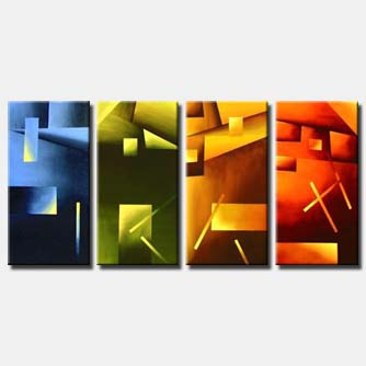 multi panel geometrical painting