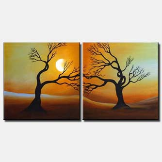 diptych sunrise painting
