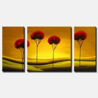 red tree tops painting