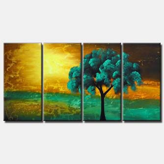 green tree abstract landscape painting