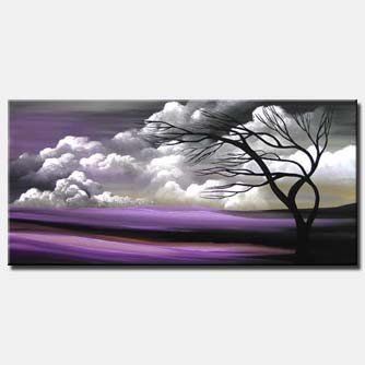 purple landscape painting