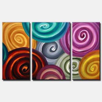 triptych colourful swirl painting