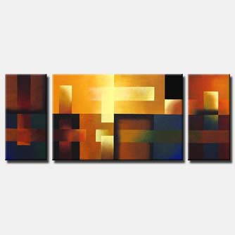 triptych geometric painting