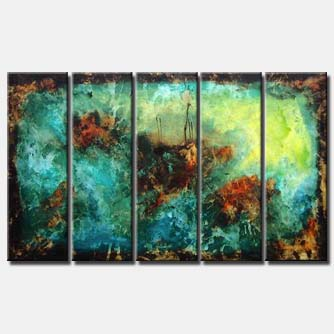 turquoise brown abstract art