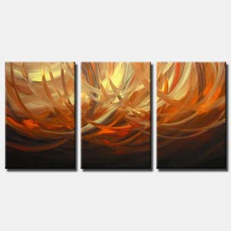 triptych abstract rings painting