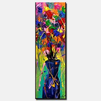 colourful flowers in vase painting