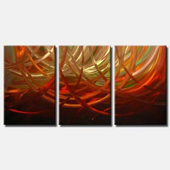 triptych red rings painting