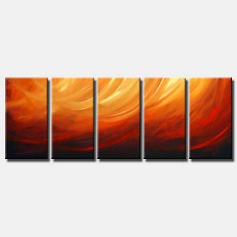 multi panel red orange abstract painting