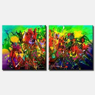 diptych colourful flowers abstract painting