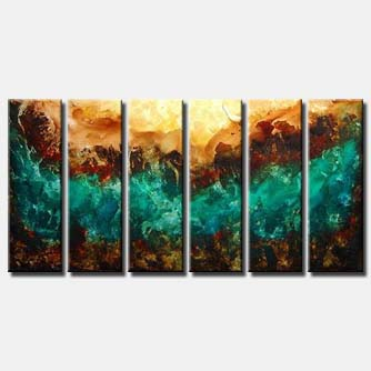 multi panel turquoise brown abstract art