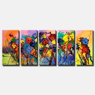 multi panel colourful abstract flowers