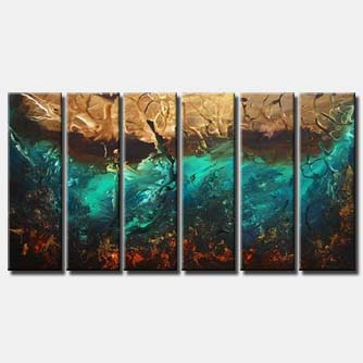 multi panel blue brown abstract