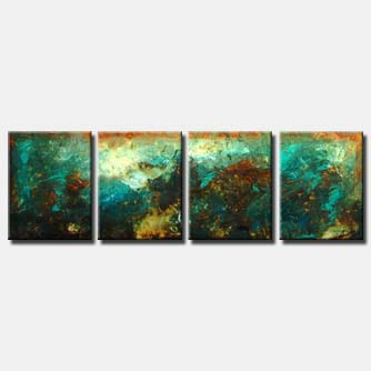 turquoise brown abstract flow art