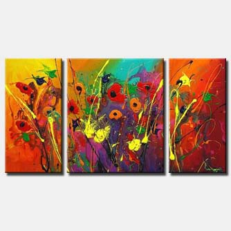 triptych colourful floral art