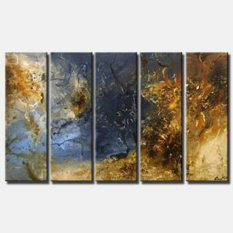 multi panel brown blue modern painting
