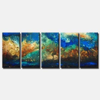 multi panel blue seascape painting