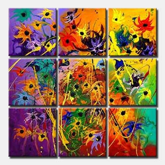 multi panel flowers painting