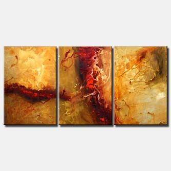 triptych canvas yellow abstract