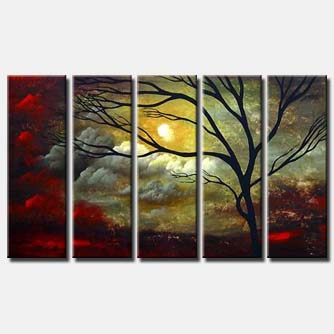 multi panel modern clouds painting