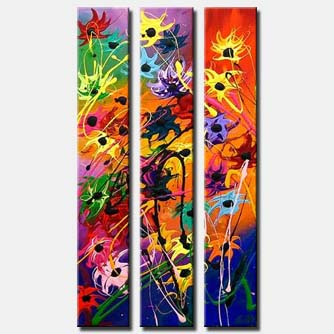 triptych flowers canvas