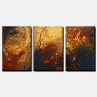 triptych earth tones painting