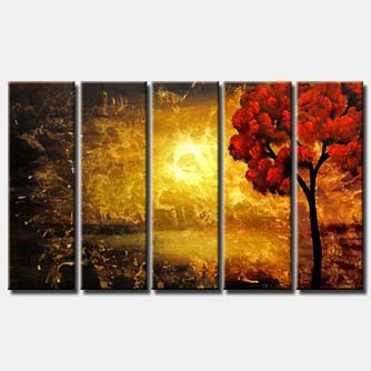 multi panel red tree