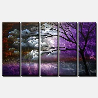 multi panel canvas purple landscape