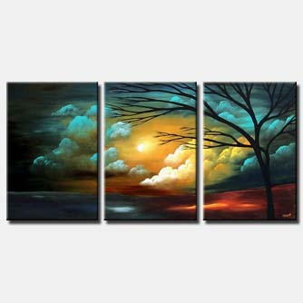 tryptych clouds painting