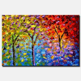 textured painting bold colorful spring forest