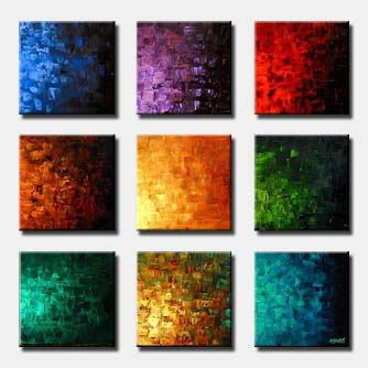 multi panels colorful square abstract