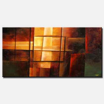 fire bright modern painting triptych