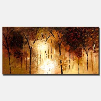 sunrise painting brown forest