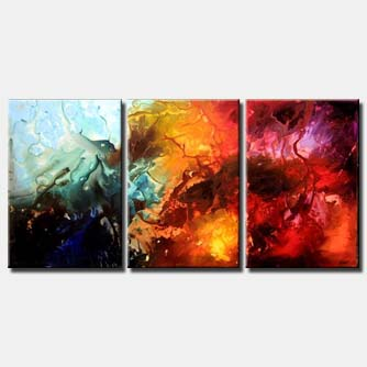 large canvas triptych abstract art