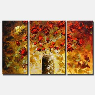 triptych painting flowers in vase