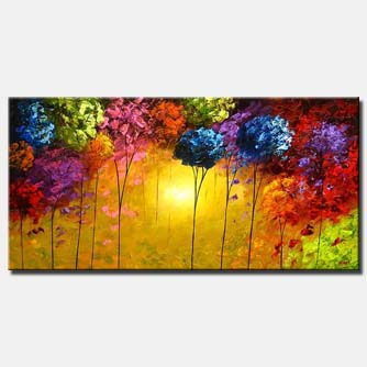 abstract painting of a colorful forest