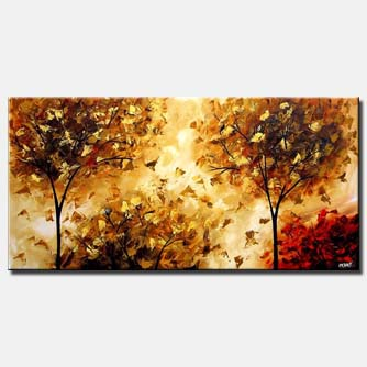 painting of a beautiful brown trees
