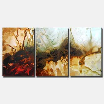 modern triptych abstract painting'
