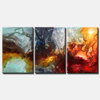 triptych colorful large abstract painting